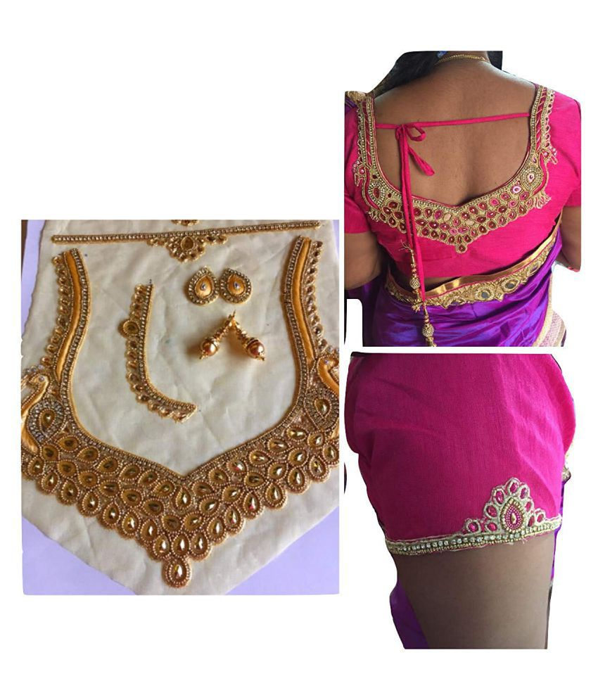 01b4a43dc5c10 XLDreams Gold Colour blouse back neck design patch lace with two latkans  and additional blouse patches for sides  Buy Online at Best Price in India  - ...