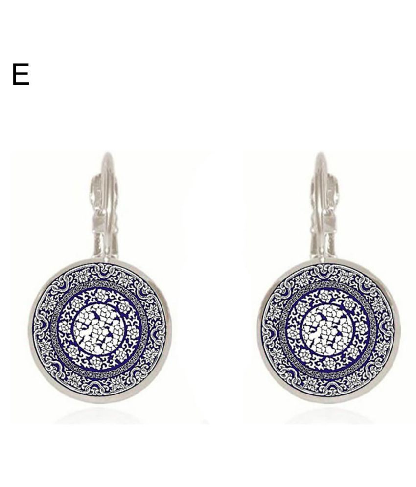 Women Ethnic Blue and White Porcelain Round Clip Leaverback Earrings Jewelry