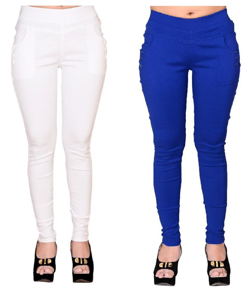 FeelBlue Poly Cotton Jeggings - Multi Color
