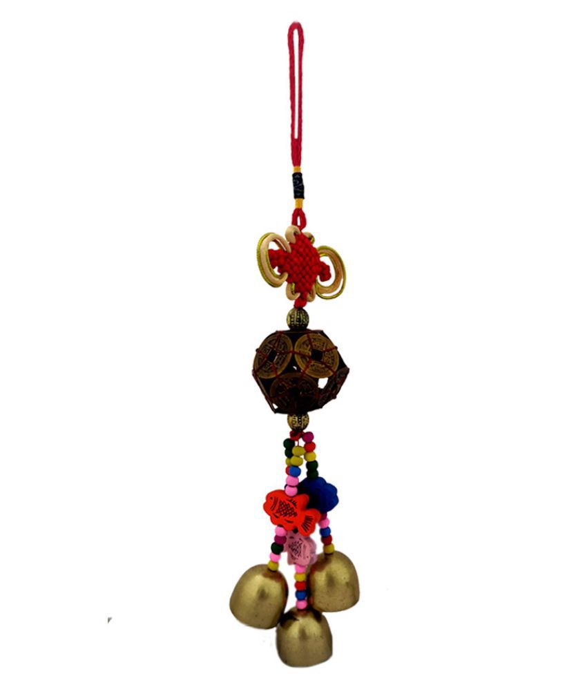 Divya Mantra Decorative Prayer Wind Bell With 12 Lucky Chinese Coins Feng Shui & Fishes Gift Pendant Amulet Car Mirror Decor Ornament Accessories/Good Luck Interior Wall Hanging Showpiece- Multicolour
