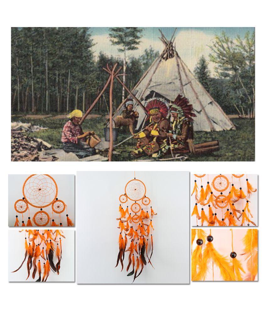 Five-rings Orange Dream Catcher Wall Hanging Home Car Decor Craft