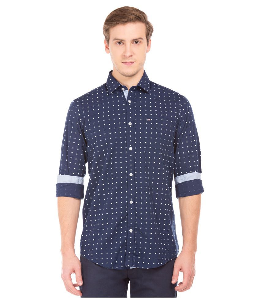 Arrow 100 Percent Cotton Blue Prints Shirt
