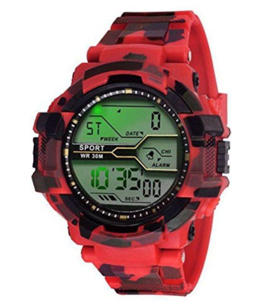 EXOMOON ENTERPRISE 04 ARMY RED BELT Silicon Digital Men's Watch