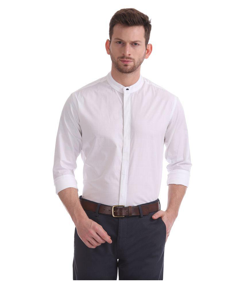 Flying Machine 100 Percent Cotton White Solids Shirt