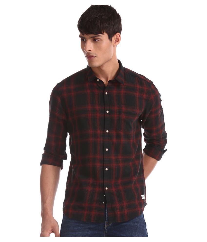 Flying Machine 100 Percent Cotton Black Checks Shirt