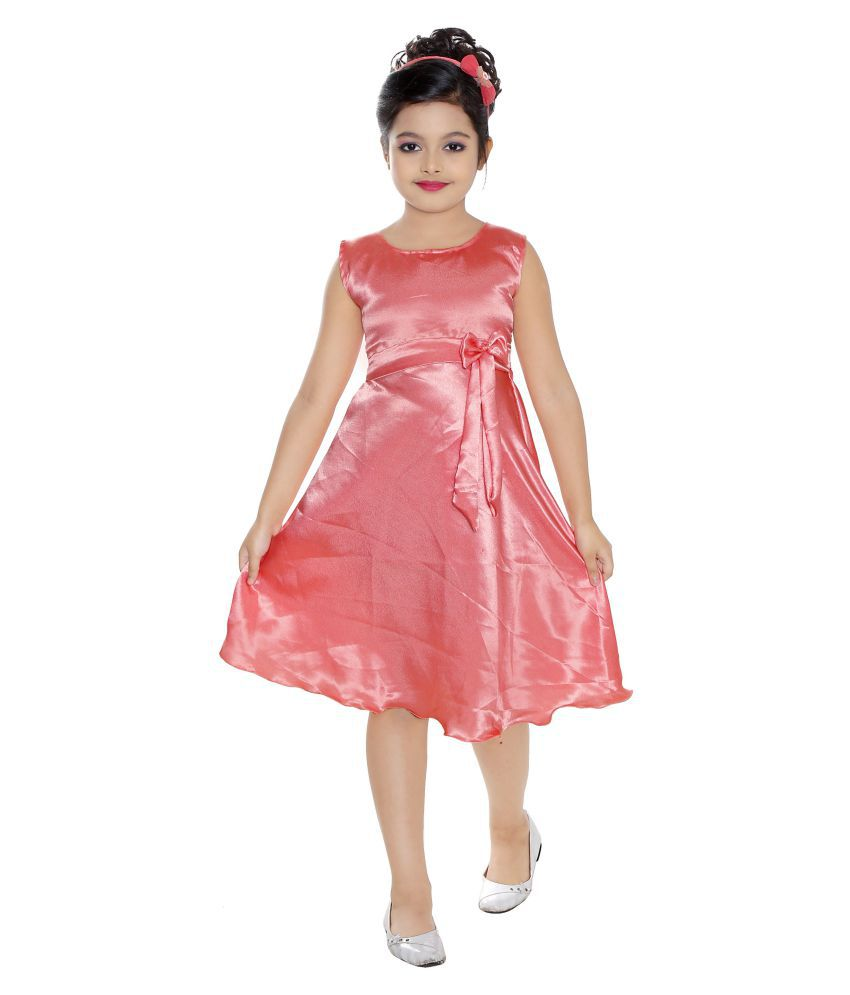 Vesh Peach Silk Frock Dress For Girls