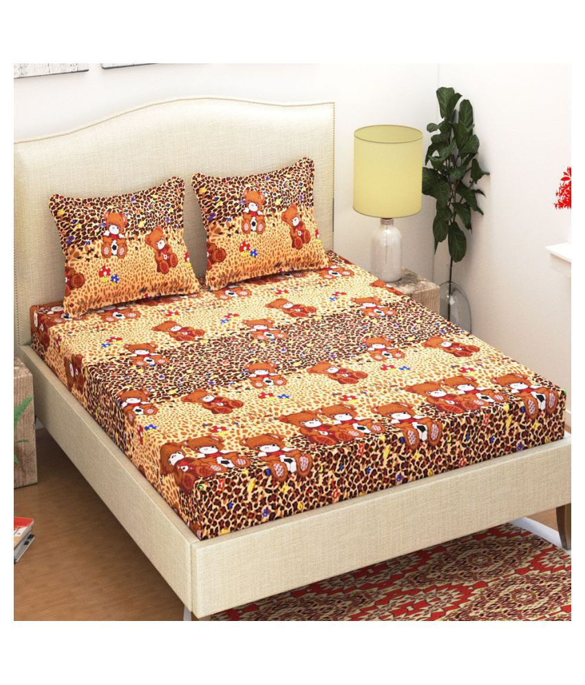 DINNY Poly Cotton Double Bedsheet with 2 Pillow Covers
