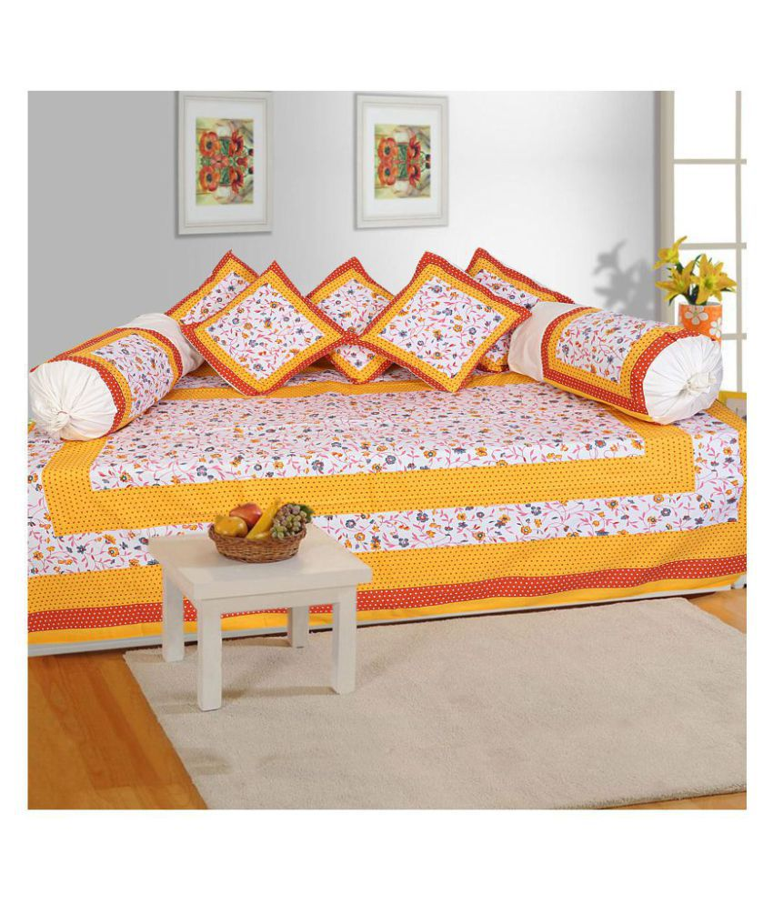 Rangun Cotton Yellow Floral Diwan Set 8 Pcs
