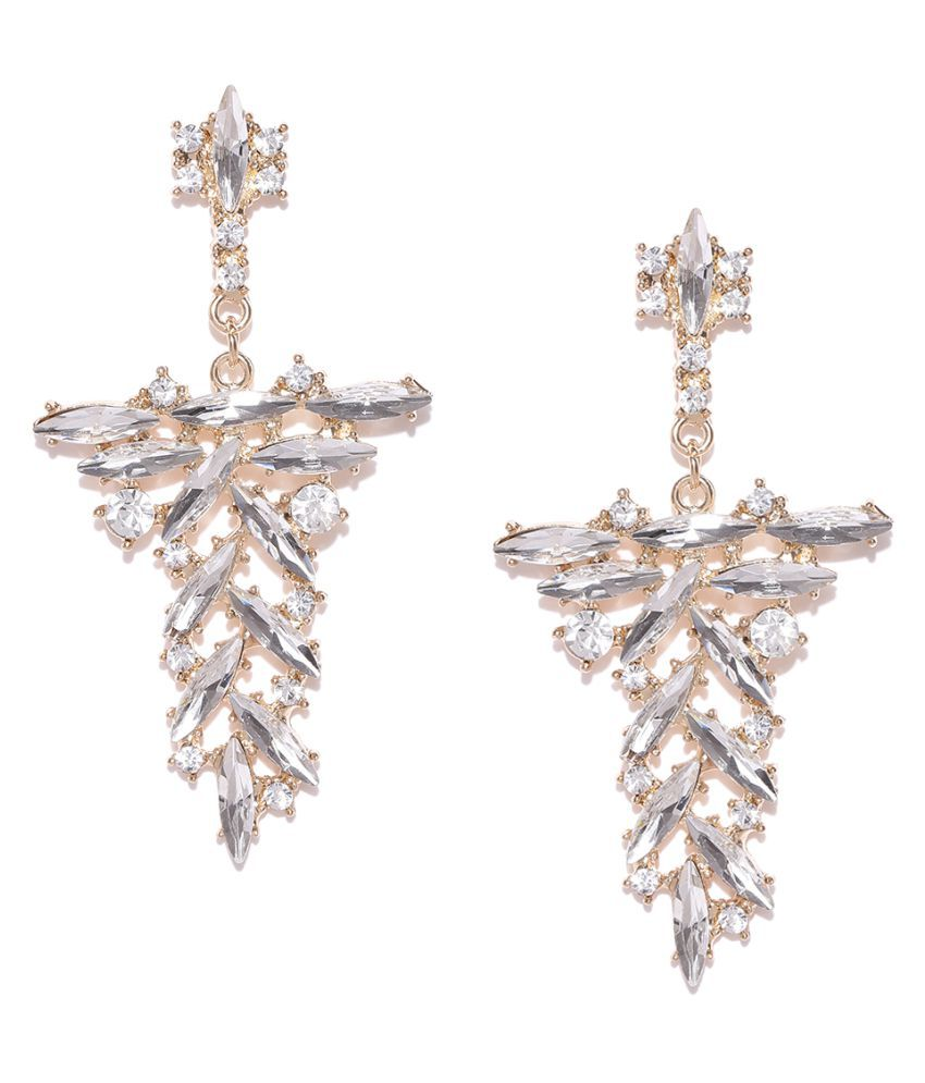 OOMPH Jewellery Gold Tone Crystal Studded Floral Drop Fashion Earrings For Women & Girls