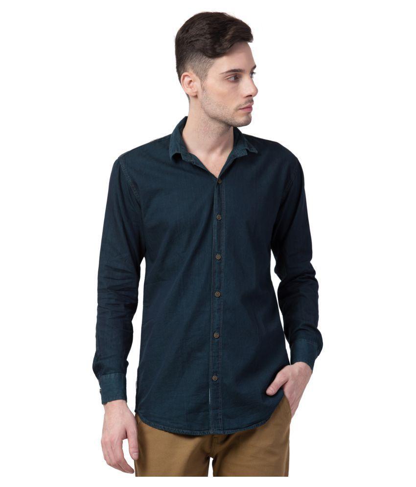 Vero Denim Blue Solids Shirt