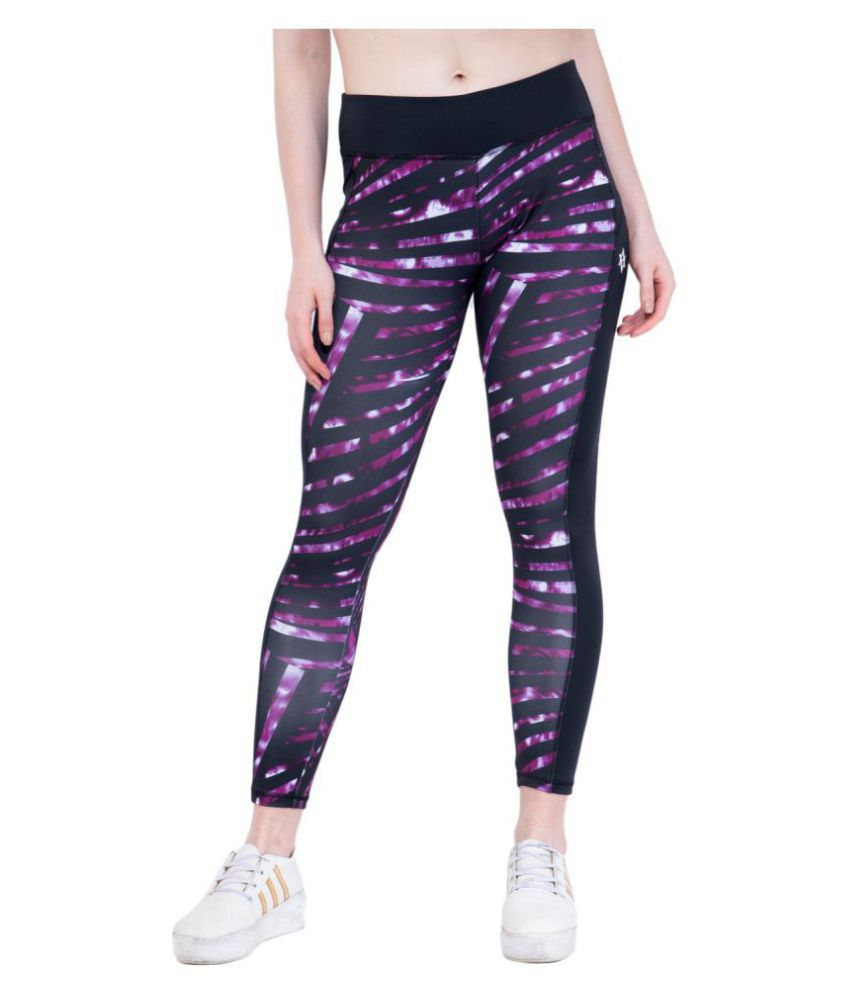 ACTIVE & ALIVE Purple Polyester Printed Tights