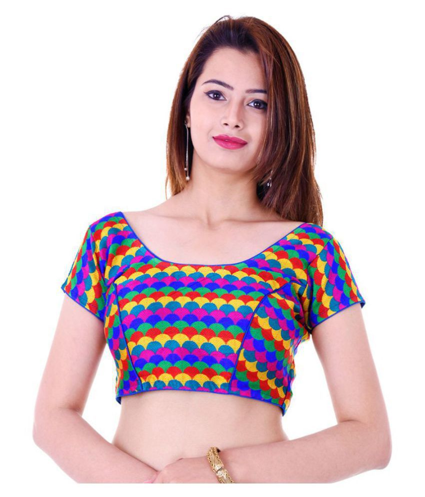 ADABHUT Multicoloured Cotton Readymade with Pad Blouse