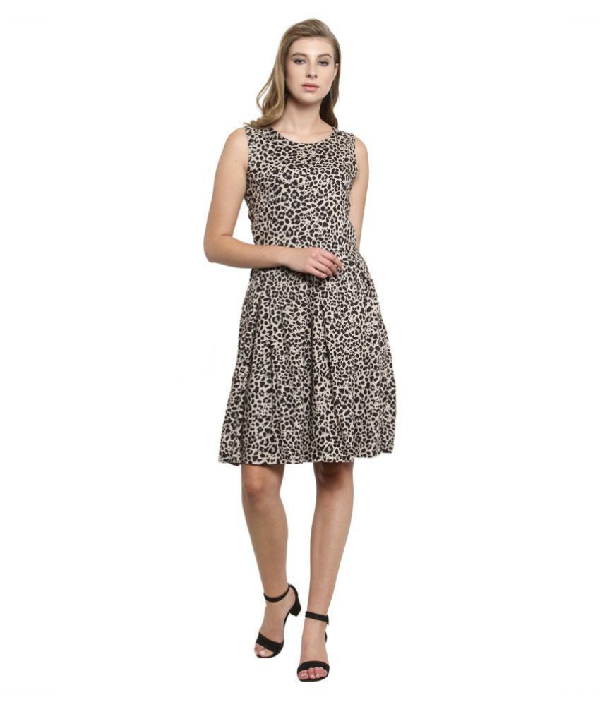 Color Cocktail Rayon White A- line Dress