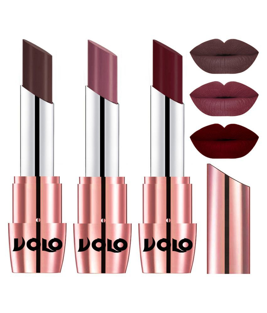 VOLO Perfect Creamy with Matte Lipstick Chocolate,Plum, Maroon Pack of 3 10 g