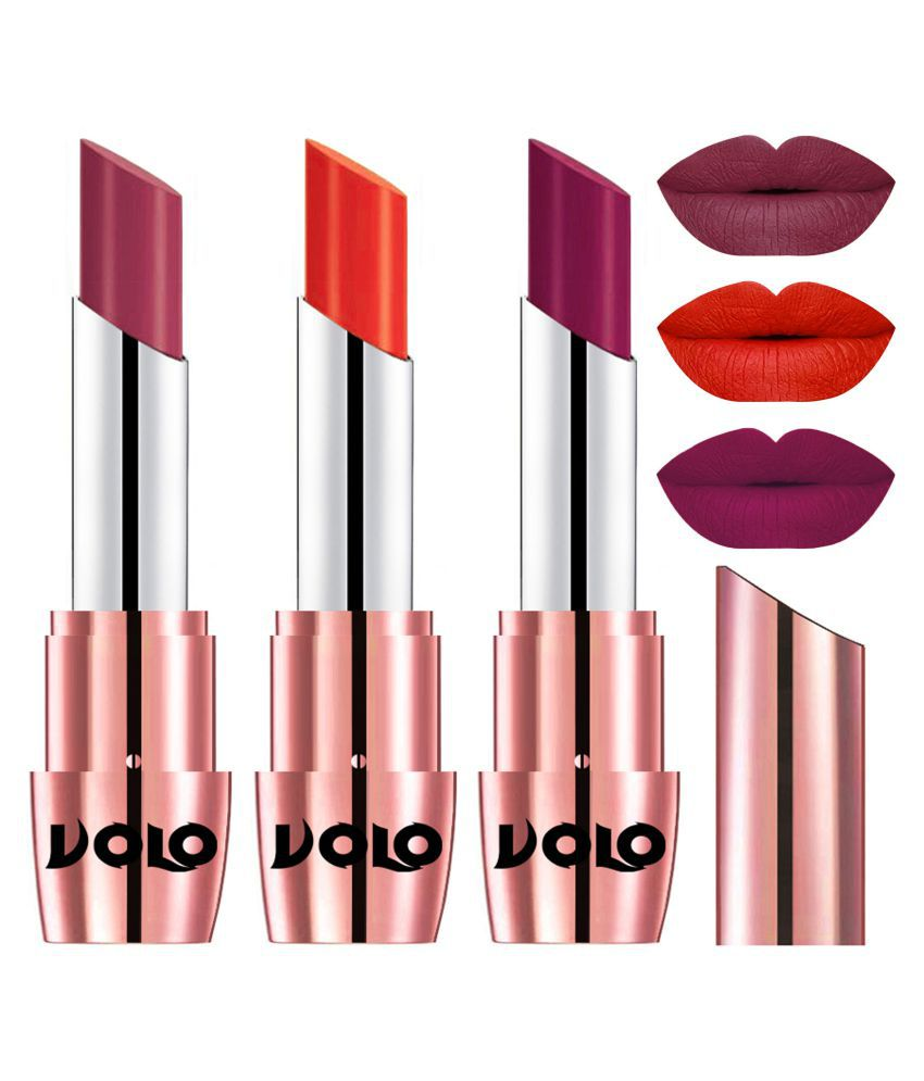 VOLO Perfect Creamy with Matte Lipstick Rose Pink,Coral, Magenta Pack of 3 10 g