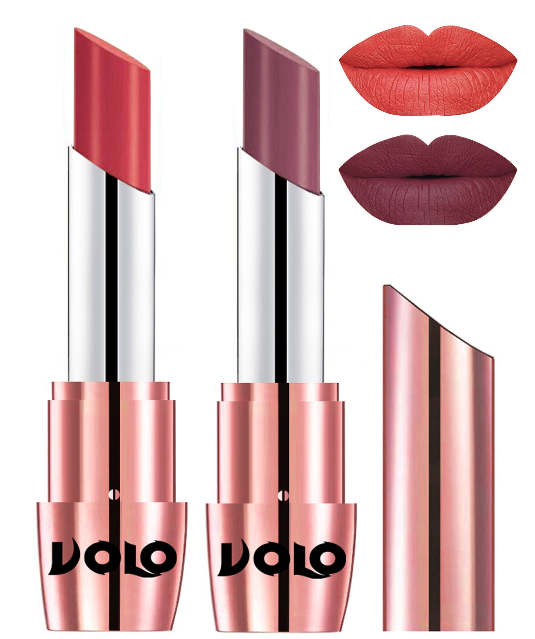 VOLO Perfect Creamy with Matte Lipstick Peach Plum Pack of 2 7 g