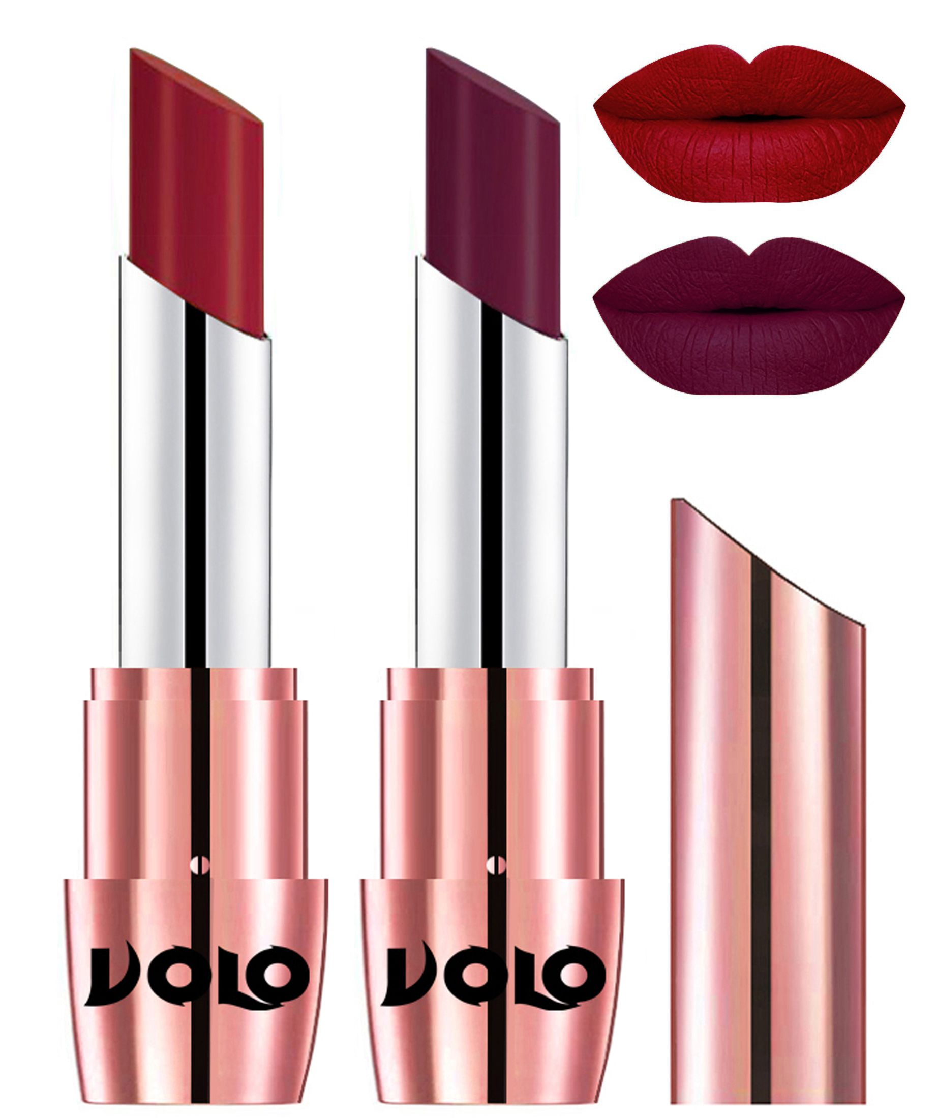 VOLO Perfect Creamy with Matte Lipstick Red Wine Pack of 2 7 g