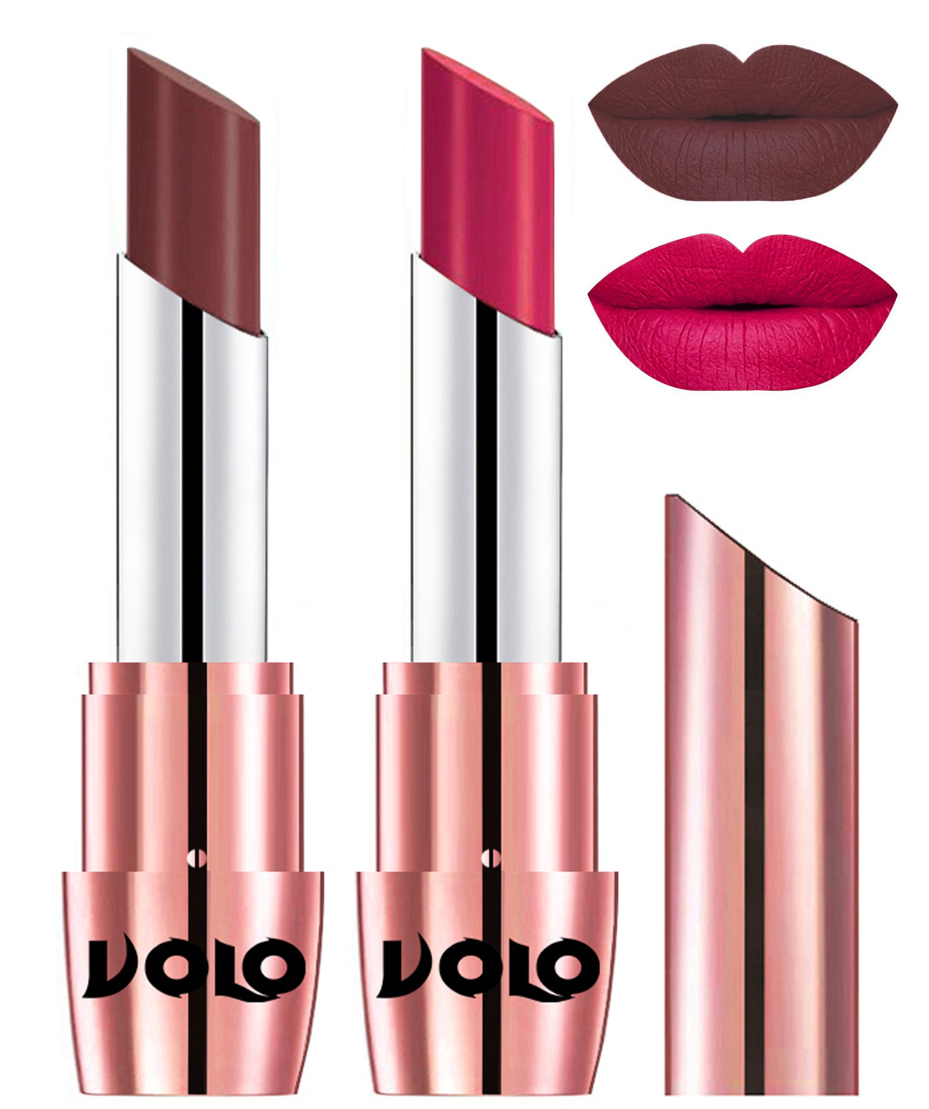 VOLO Perfect Creamy with Matte Lipstick Coffee Pink Pack of 2 7 g