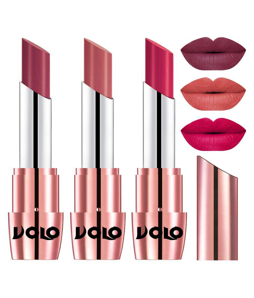 VOLO Perfect Creamy with Matte Lipstick Cherry,Light Peach, Pink Pack of 3 10 g