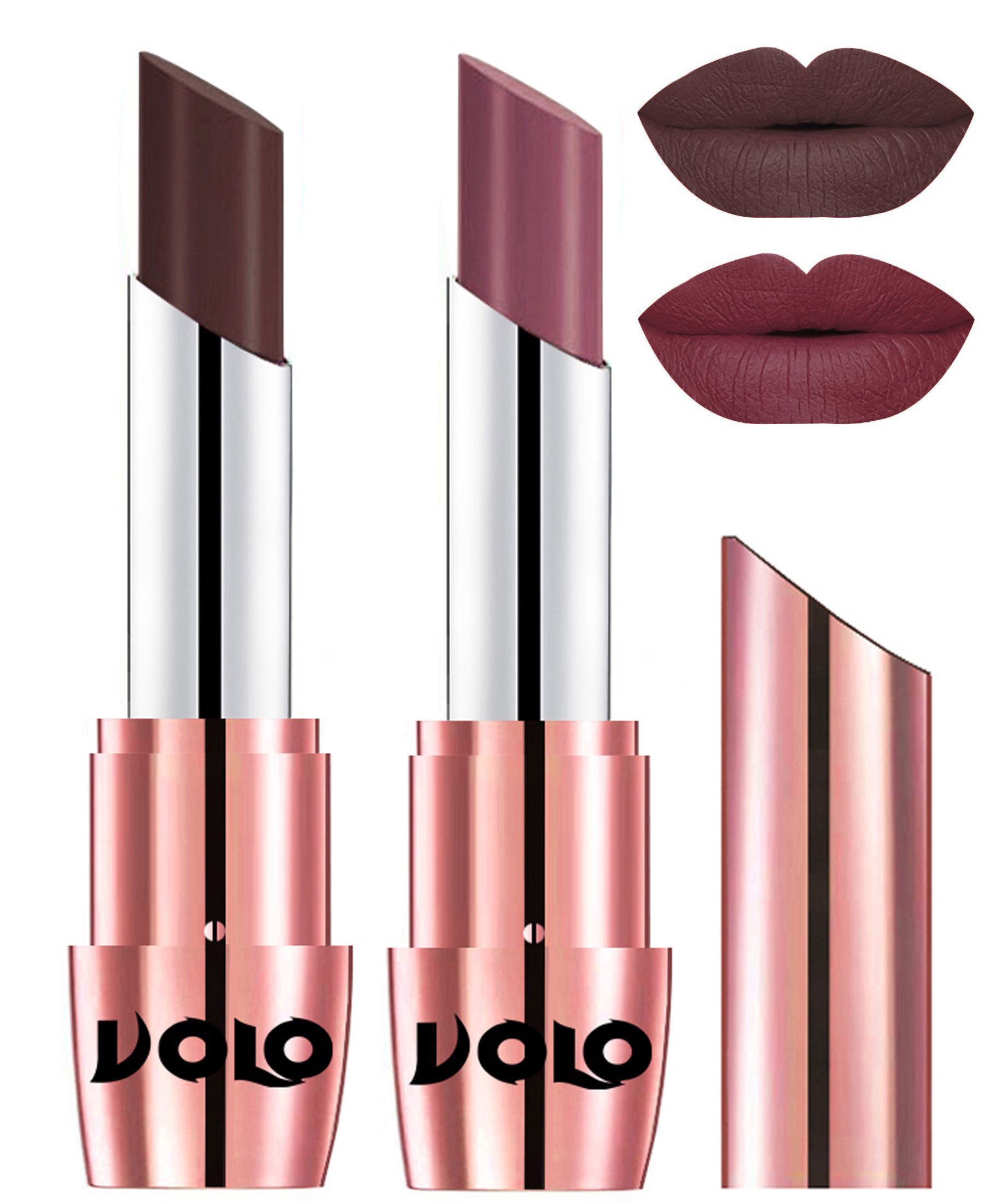 VOLO Perfect Creamy with Matte Lipstick Chocolate Plum Pack of 2 7 g