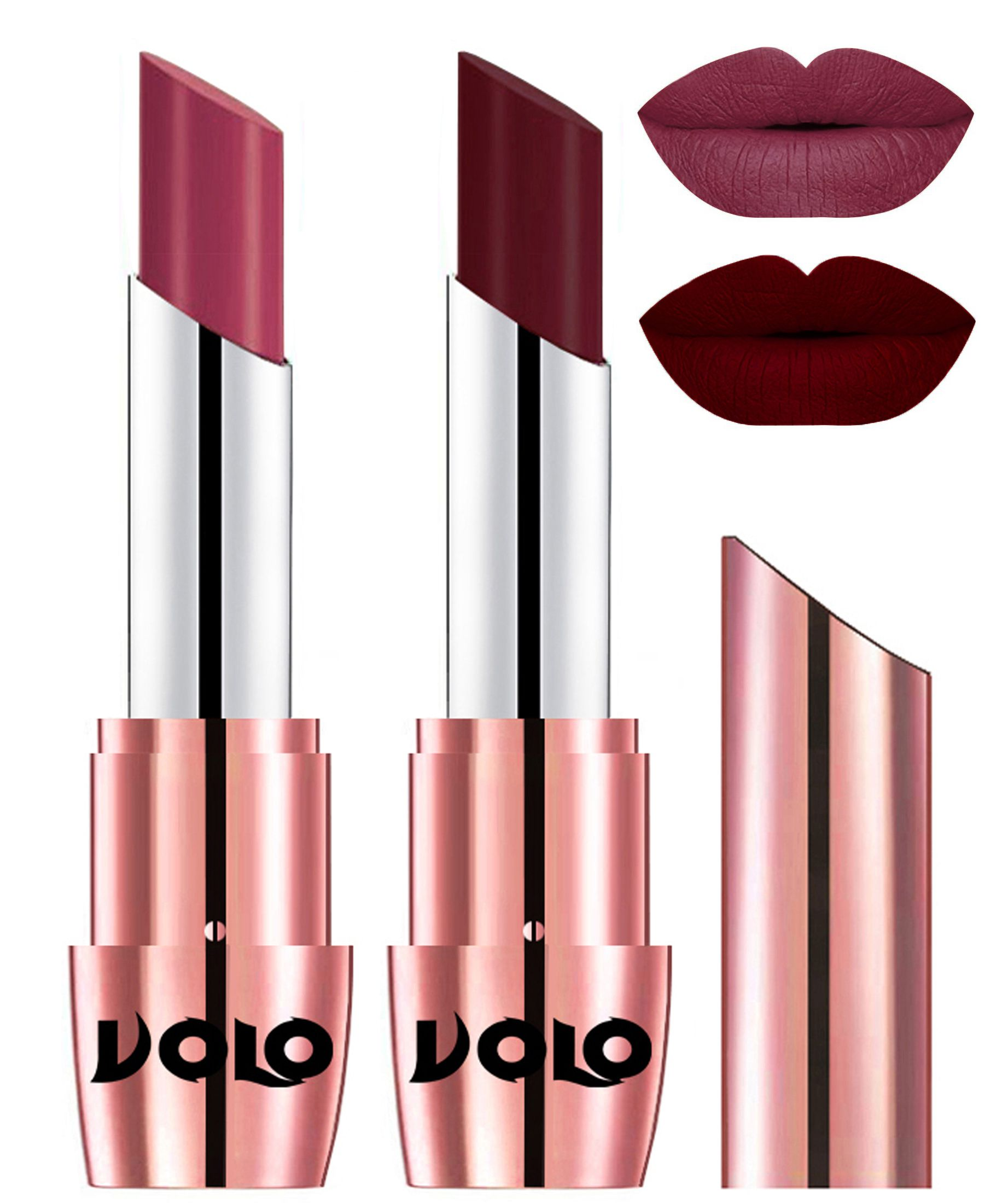 VOLO Perfect Creamy with Matte Lipstick Rose Pink Maroon Pack of 2 7 g