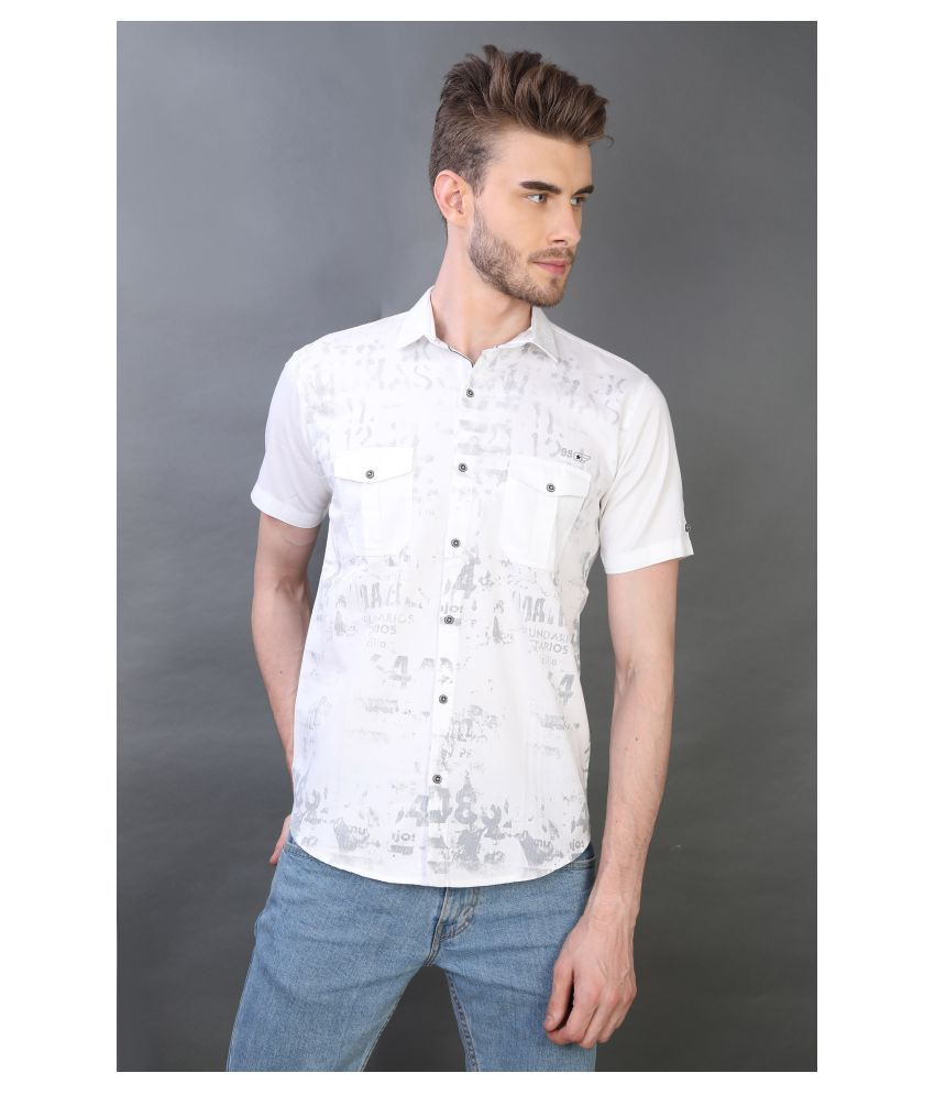 Carbone 100 Percent Cotton White Prints Shirt