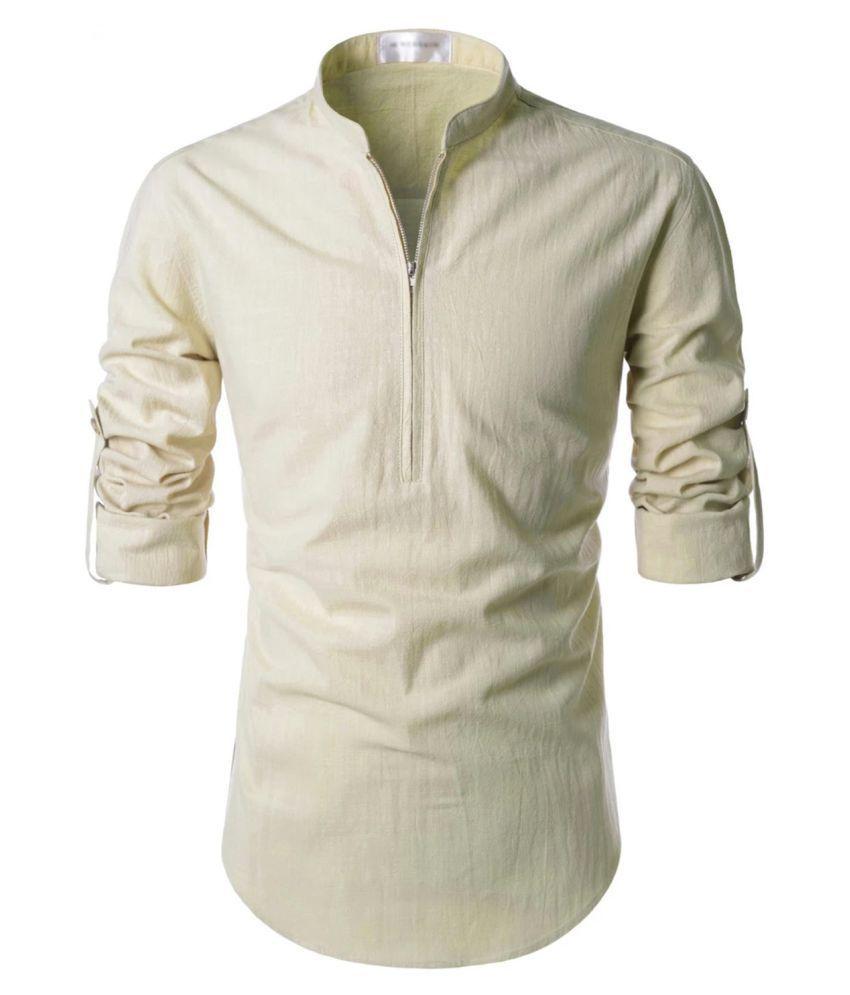 Vida Loca 100 Percent Cotton Off-White Solids Shirt