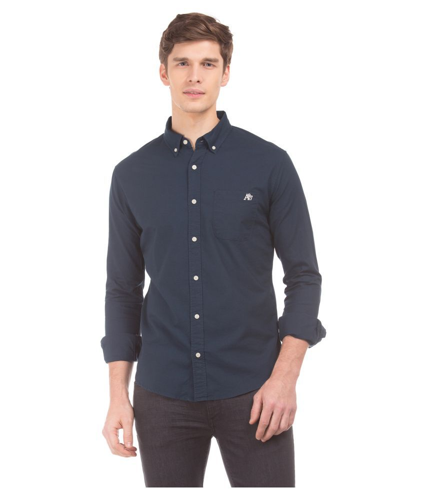 Aeropostale 100 Percent Cotton Blue Solids Shirt