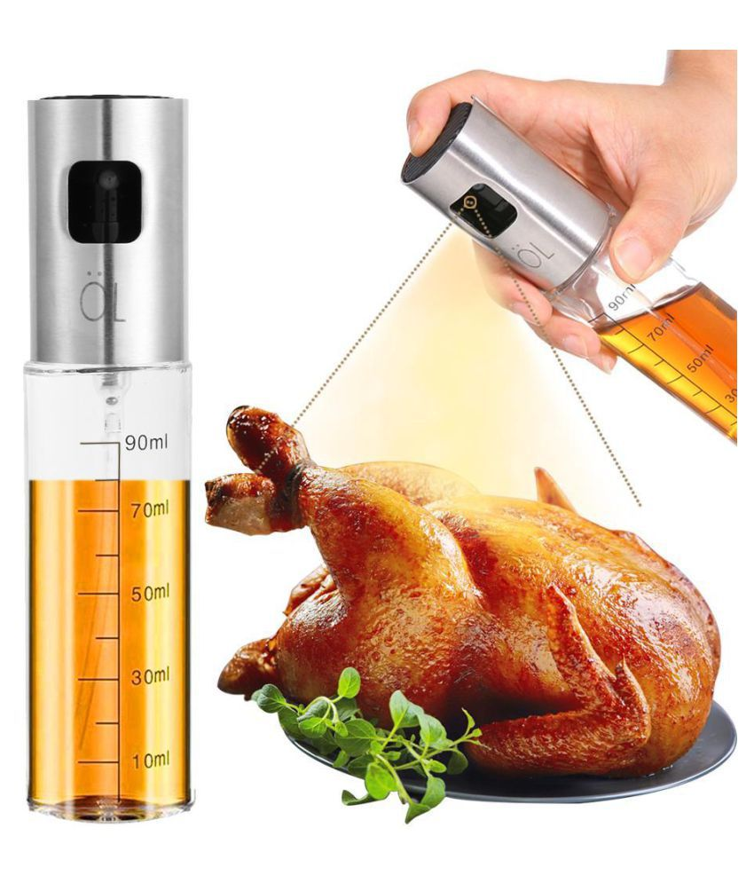 Stainless Steel Pump Spray Scale Bottle Oil Sprayer BBQ Oil Cooking Tool