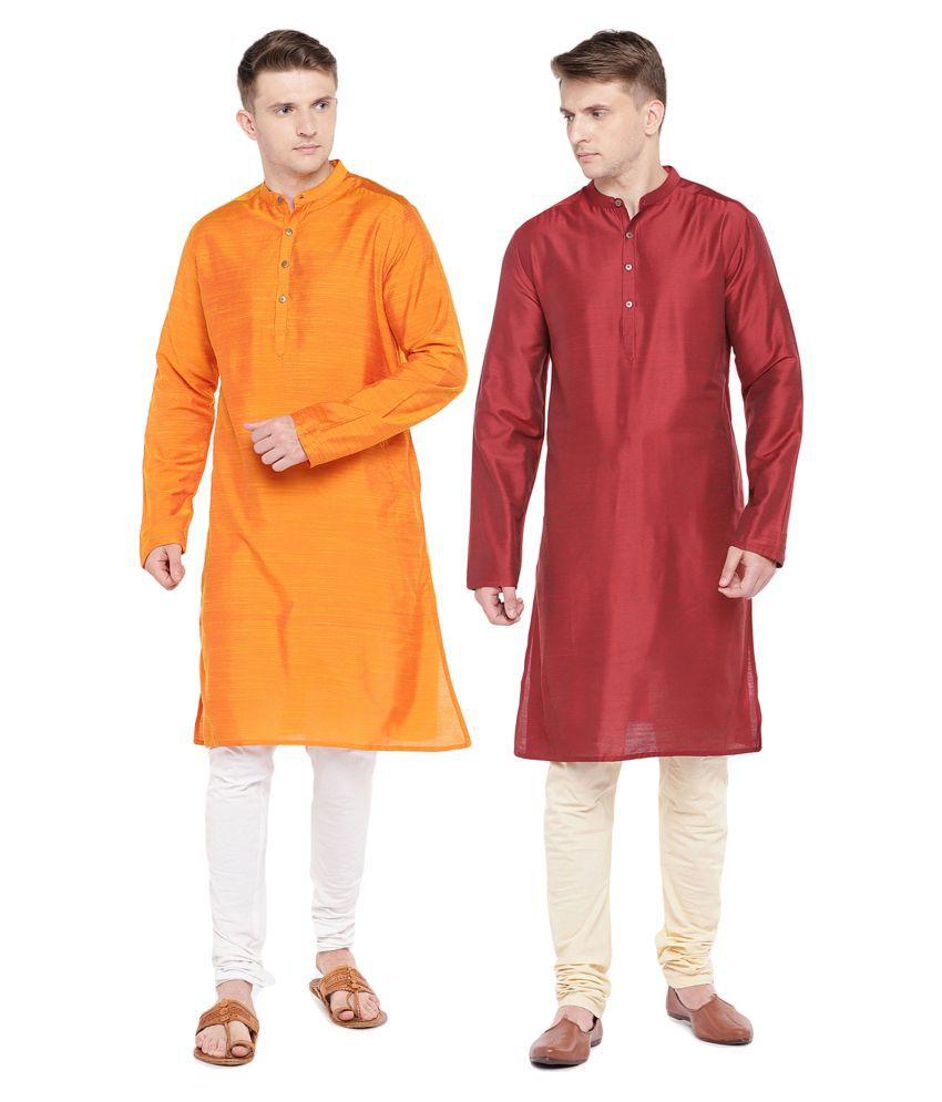 Salwar Studio Multi Silk Blend Kurta Pack of 2