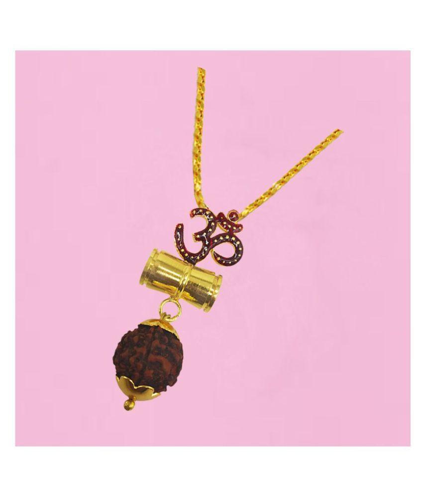 Men Style  Beautiful Great Hindu Shiva Ji Om  Damaru Locket With Chain Gold-plated Brass Pendant Set