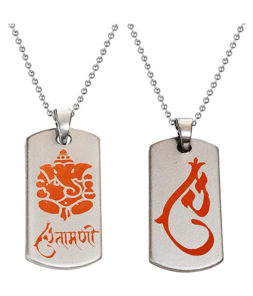 Men Style  Religious Jewellery Loard Shree Ganesh Chintamani Red   and Zinc Alloy 2 Pendant Necklace for Men and Boys