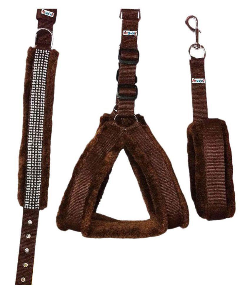 Petshop7 1 in Fur Dog Harness, Collar & Leash Set -M Combo