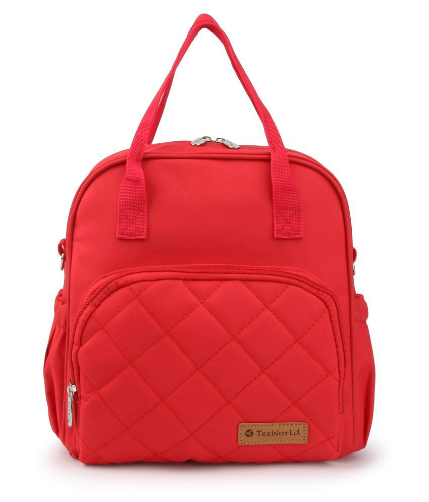T Bags Red Polyester Diaper Bag   25 cm