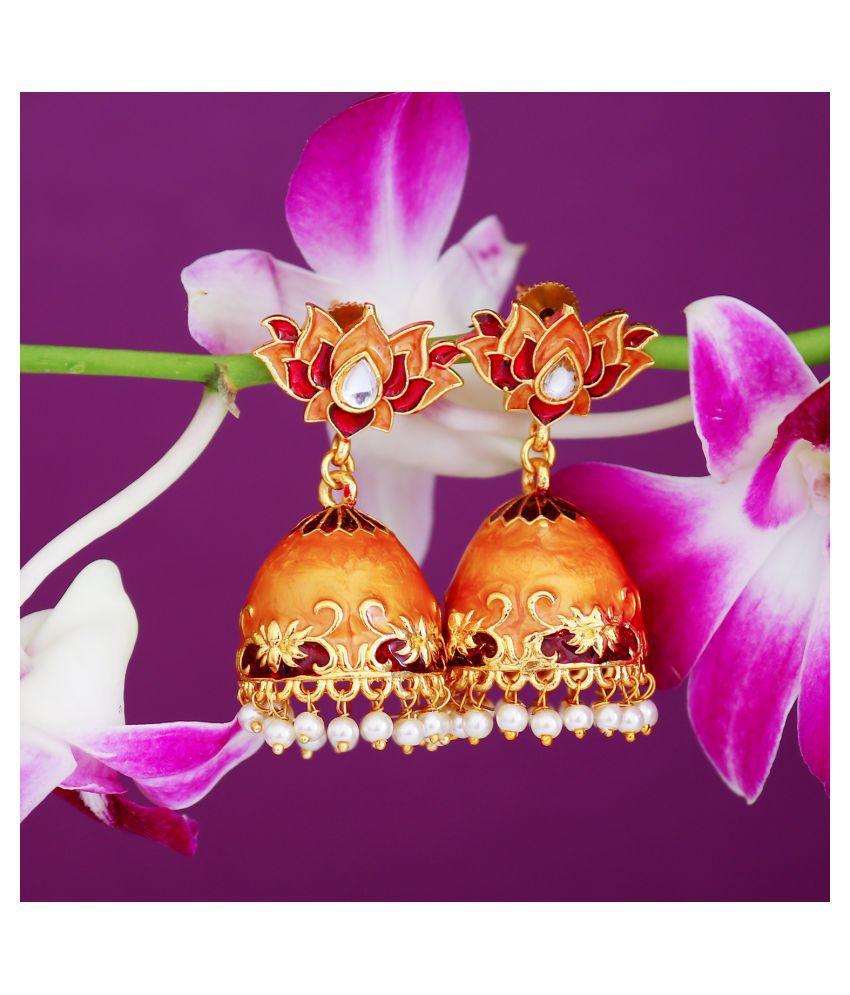 Sukkhi Splendid Pearl Gold Plated Lotus Meenakari Jhumki Earring For Women