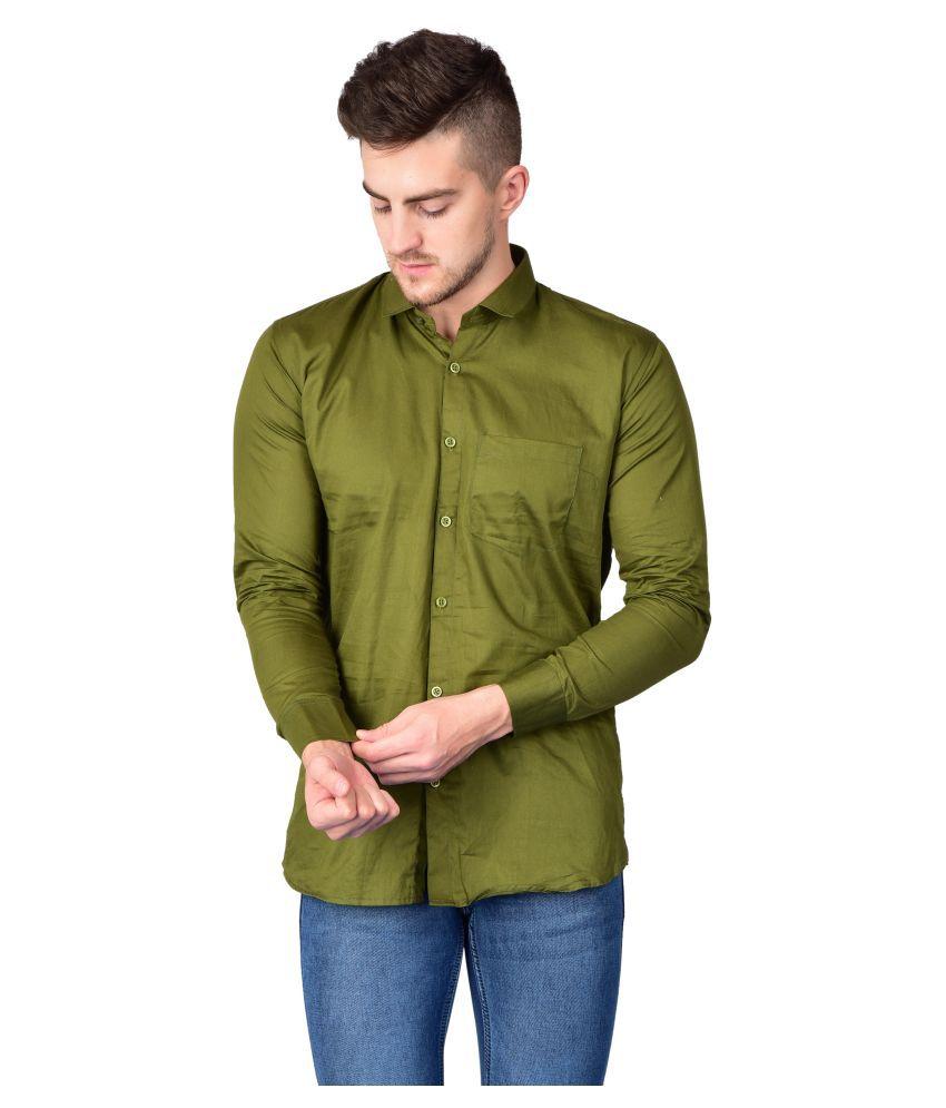 Madovrfashion 100 Percent Cotton Green Solids Shirt