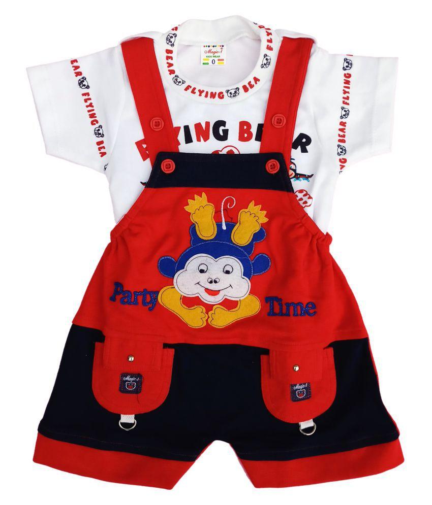 Magic-1 I-Top & Bottom Dungaree Set For Baby Boy Half Sleeves