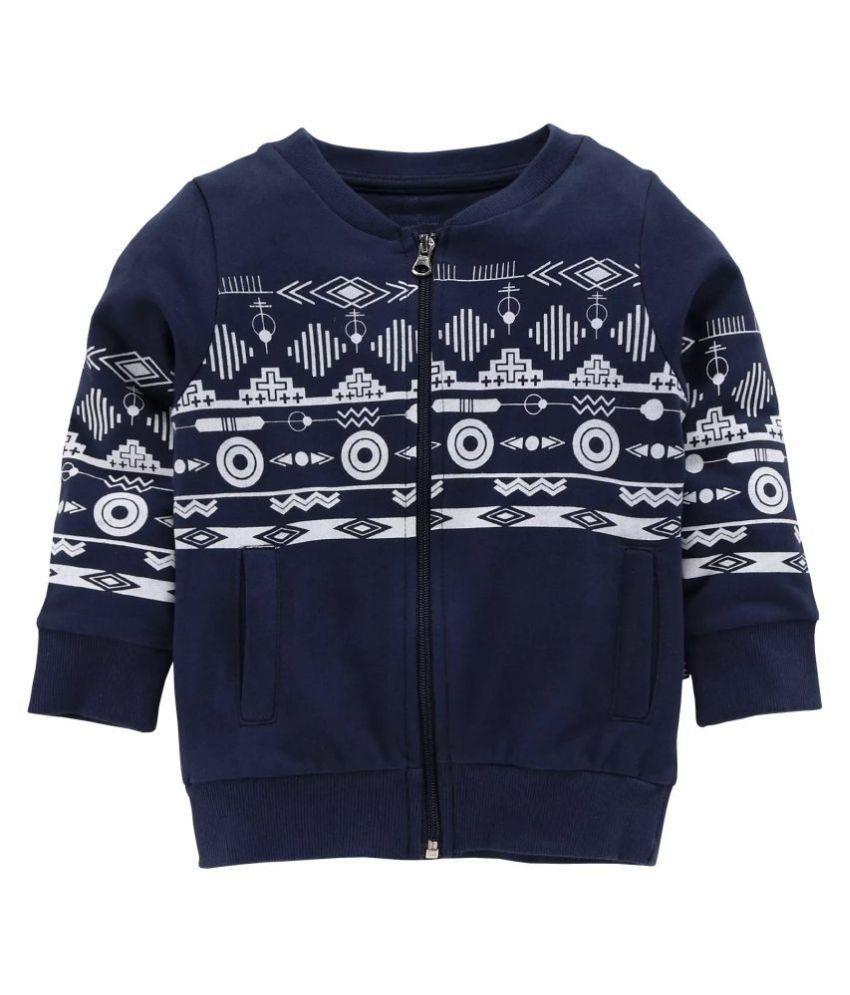 Boy's Front Open Sweatshirt With Chest Print