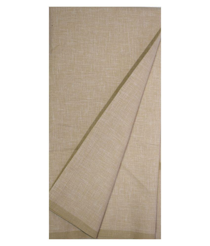 KUNDAN SUZ GWALIOR Beige Cotton Blend Unstitched Shirt pc