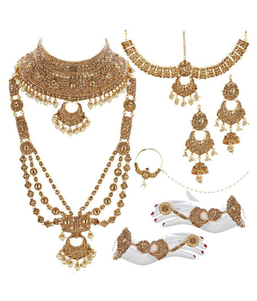 LUCKY JEWELLERY Alloy Golden Choker Traditional Gold Plated Necklaces Set