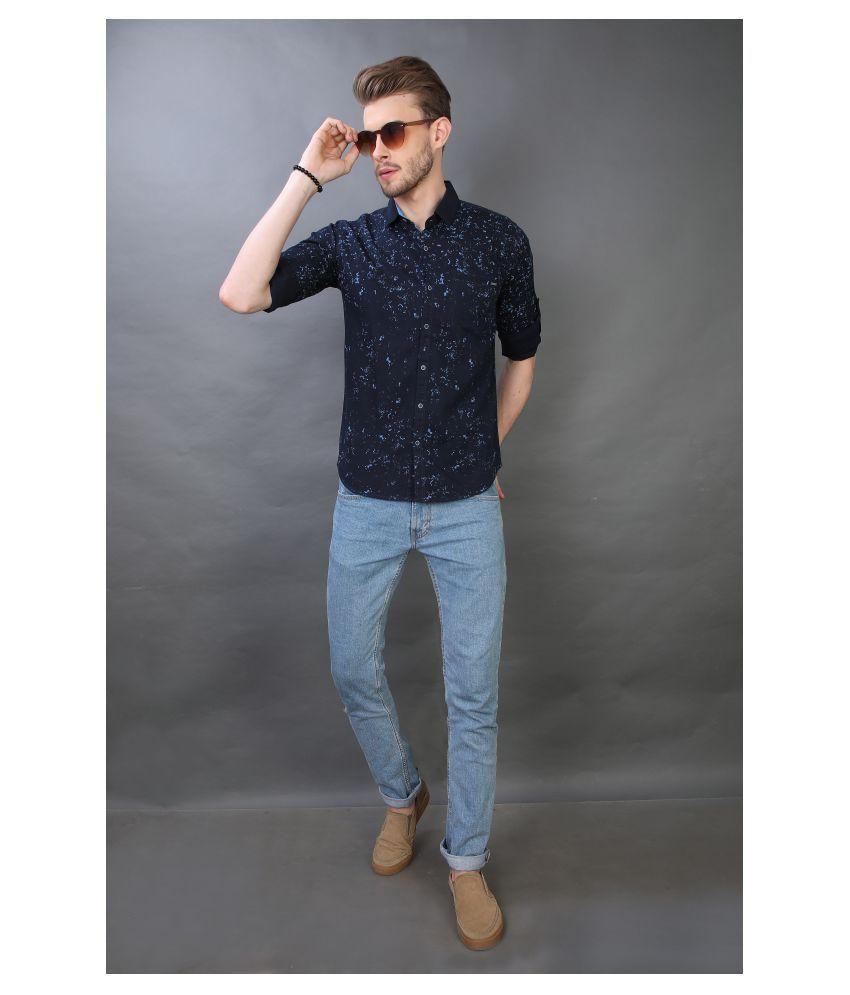 Carbone 100 Percent Cotton Blue Prints Shirt