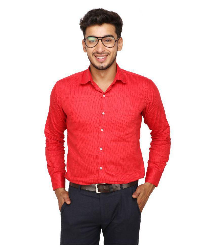 Koxko 100 Percent Cotton Red Prints Shirt