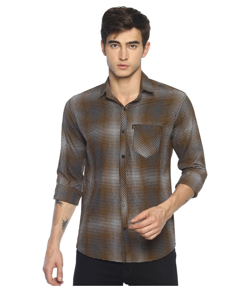 Levizo 100 Percent Cotton Beige Checks Shirt