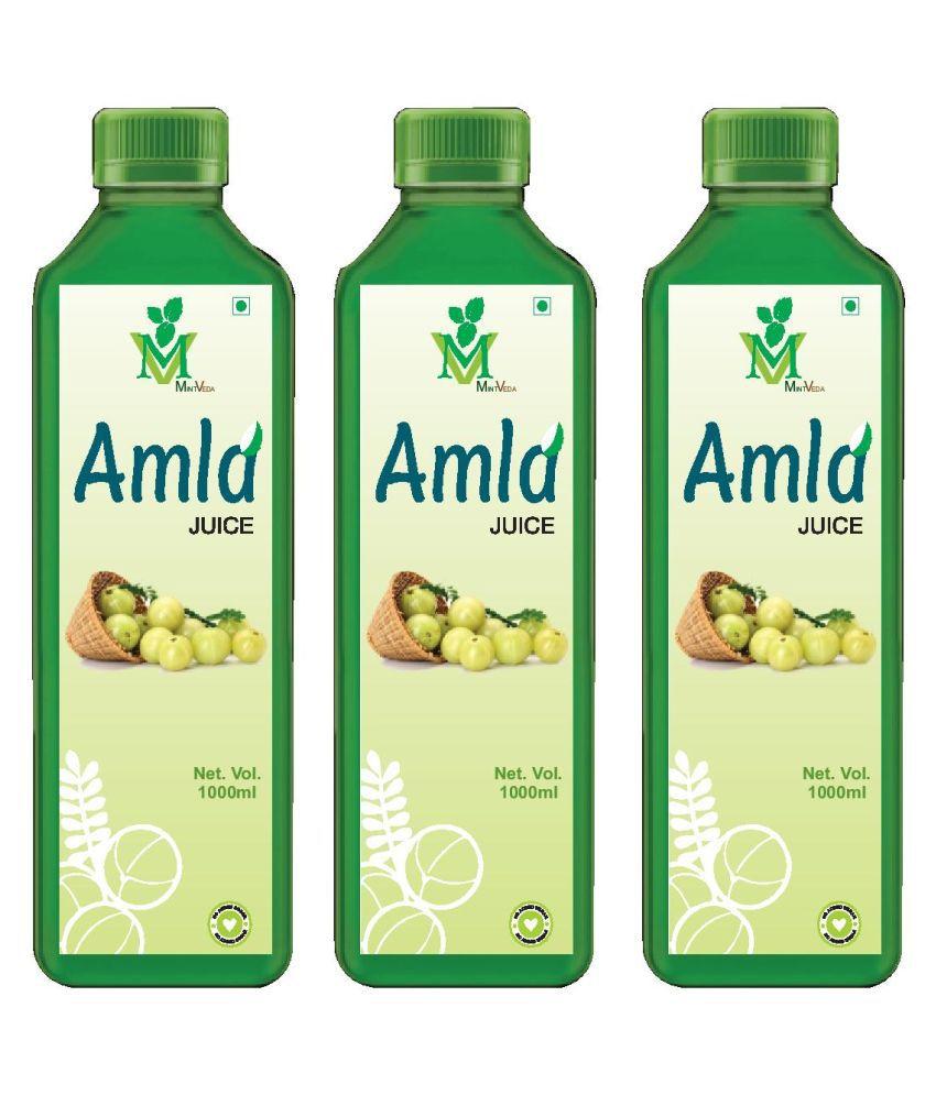 Mint Veda Amla (Sugar Free) Juice Pack of 3 Health Drink 1 l