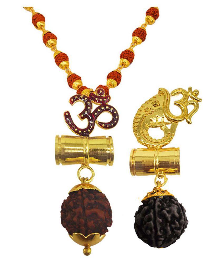 Shiv Jagdamba Religious Jewellery Om Ganesh Damru Gold Brown Brass Wood Pendant with Rudraksha Mala