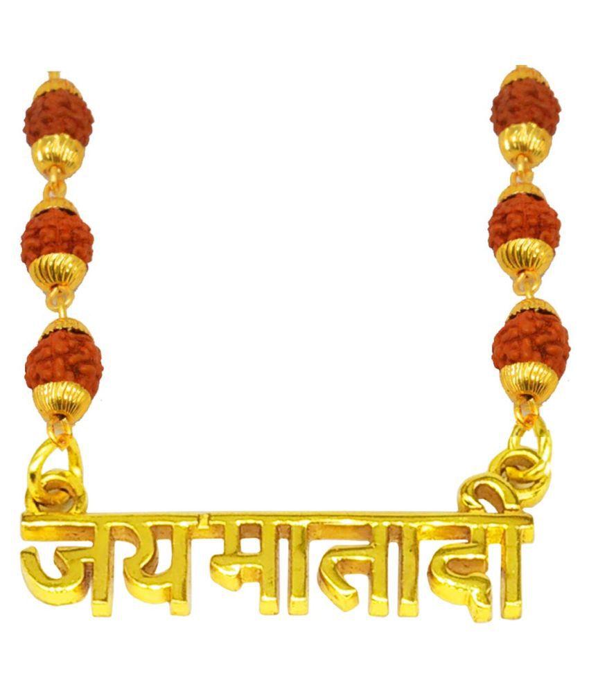 Shiv Jagdamba Religious Jewellry Jai Matadi Pendant With Rudraksha Mala
