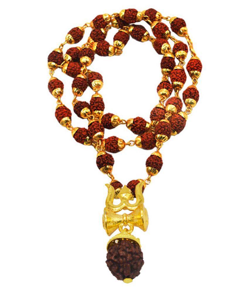 Shiv Jagdamba Religious Jewelry Shiv Rudraksha Trishul Damru Locket With Rudhrasha Necklace Pendant