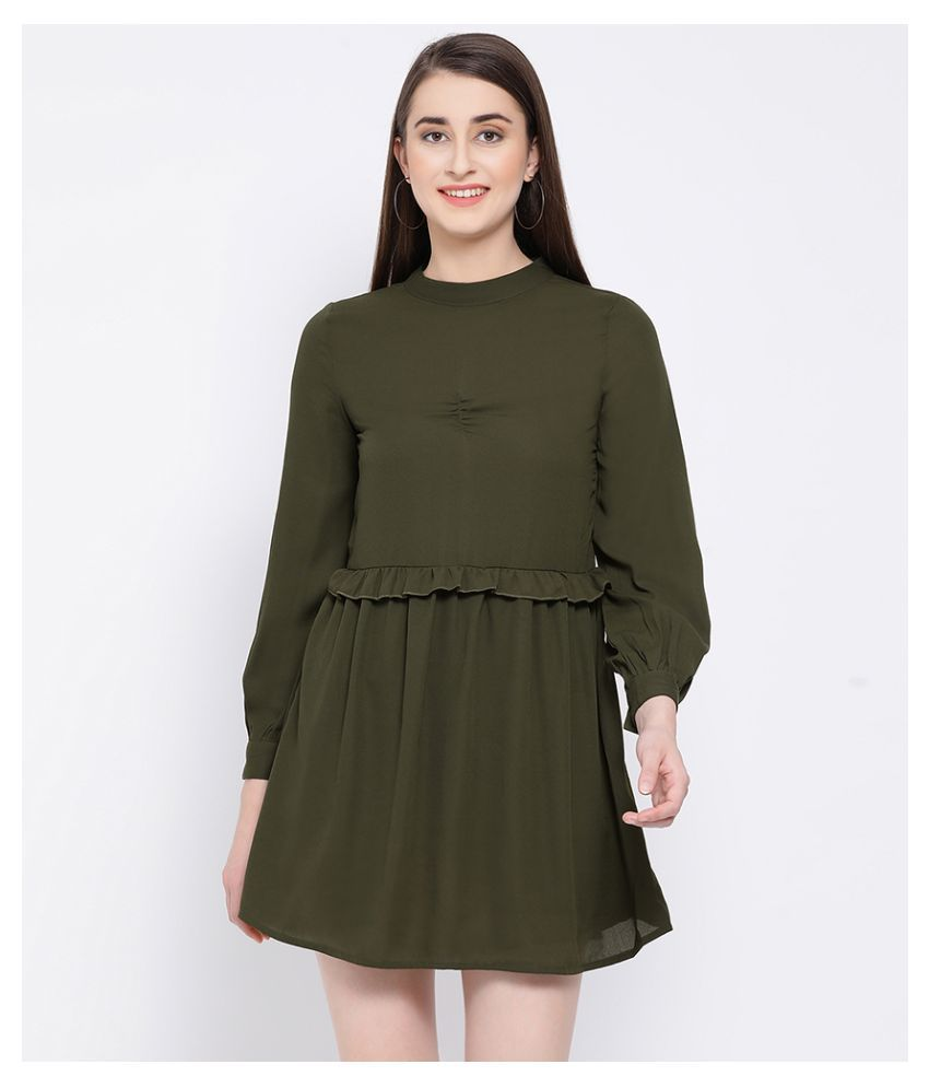 Oxolloxo Polyester Green A- line Dress