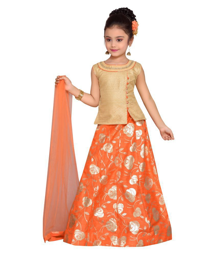Adiva Kids Party Wear Orange Color Lehenga Choli For Girls
