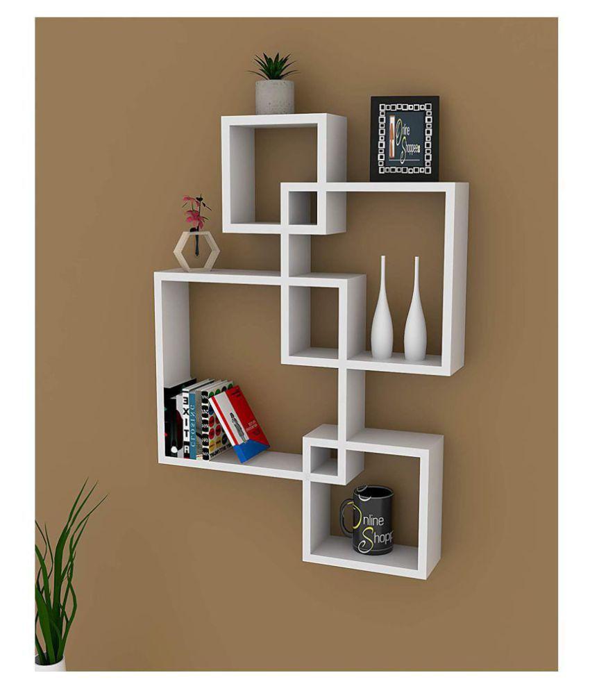Onlineshoppee Floating Shelves White MDF - Pack of 4